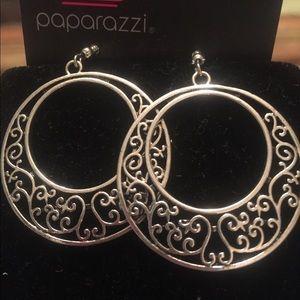 Silver hoop earrings with detail